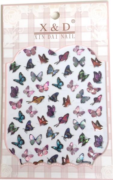 Nail art sticker papillons colorés - irisé